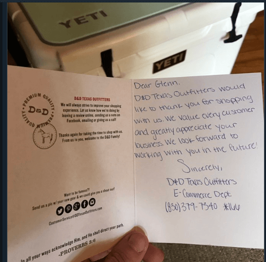 D&D TExas Outfitters thank you note improves customer service experience