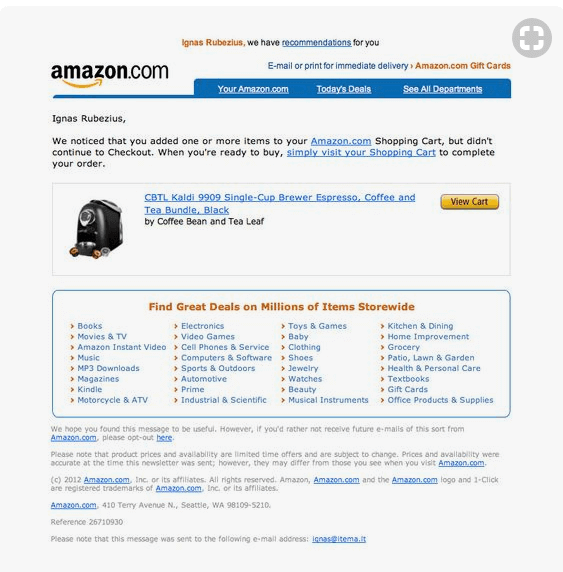Amazon abandoned customer example