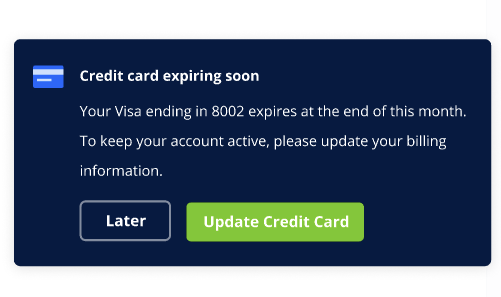 Card expiring in-app notification