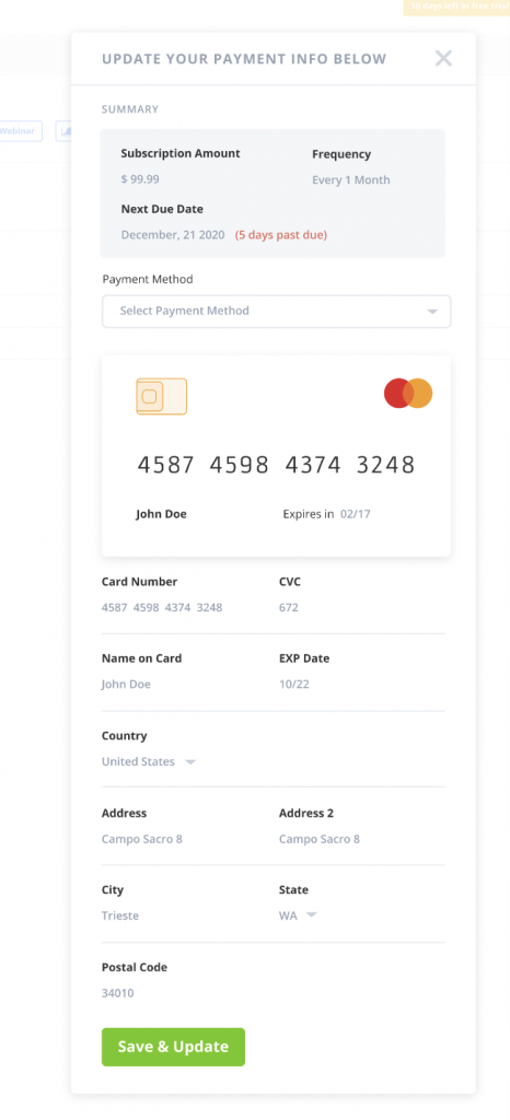 Update your card in-app