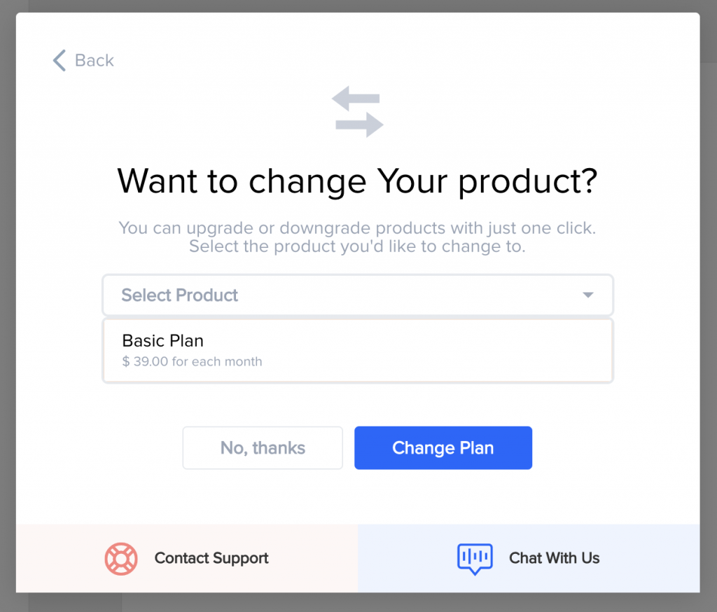 Offering an alternative product instead of a cancel