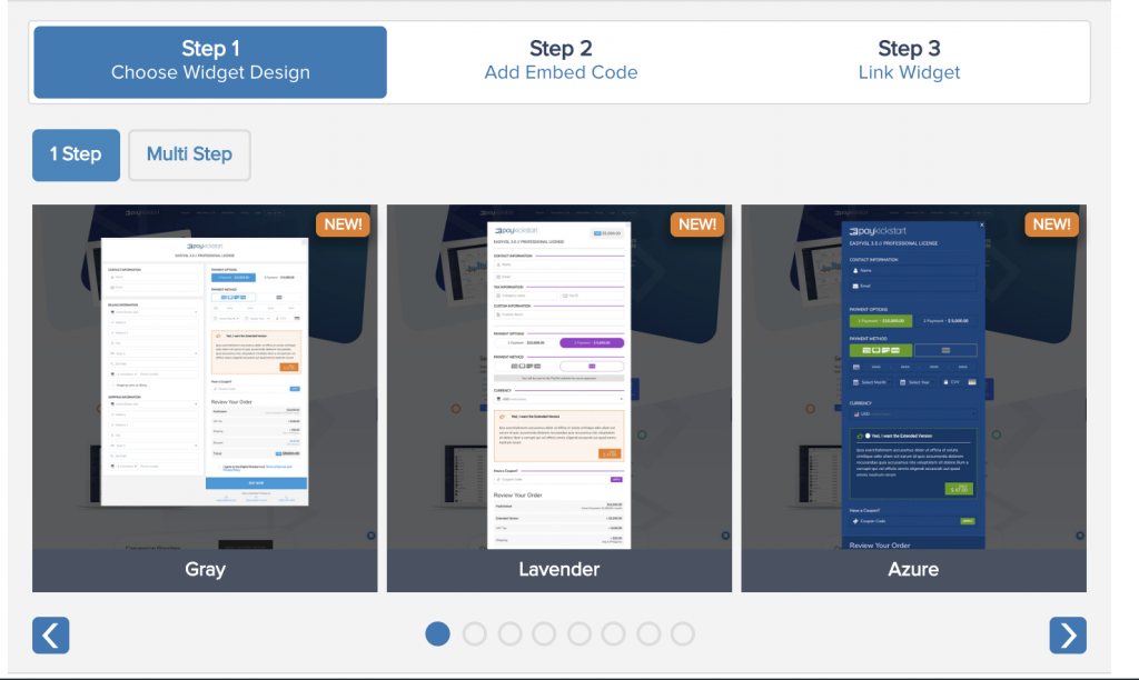 PayKickstart's checkout widgets