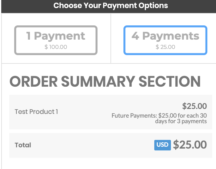 setting up a split-payment option
